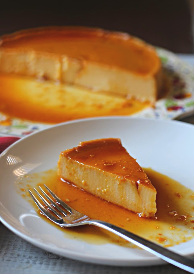Cheese cake flan, cream cheese flan with caramel topping.