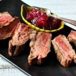 Easy pan seared flank steak recipe with red onion marmalade