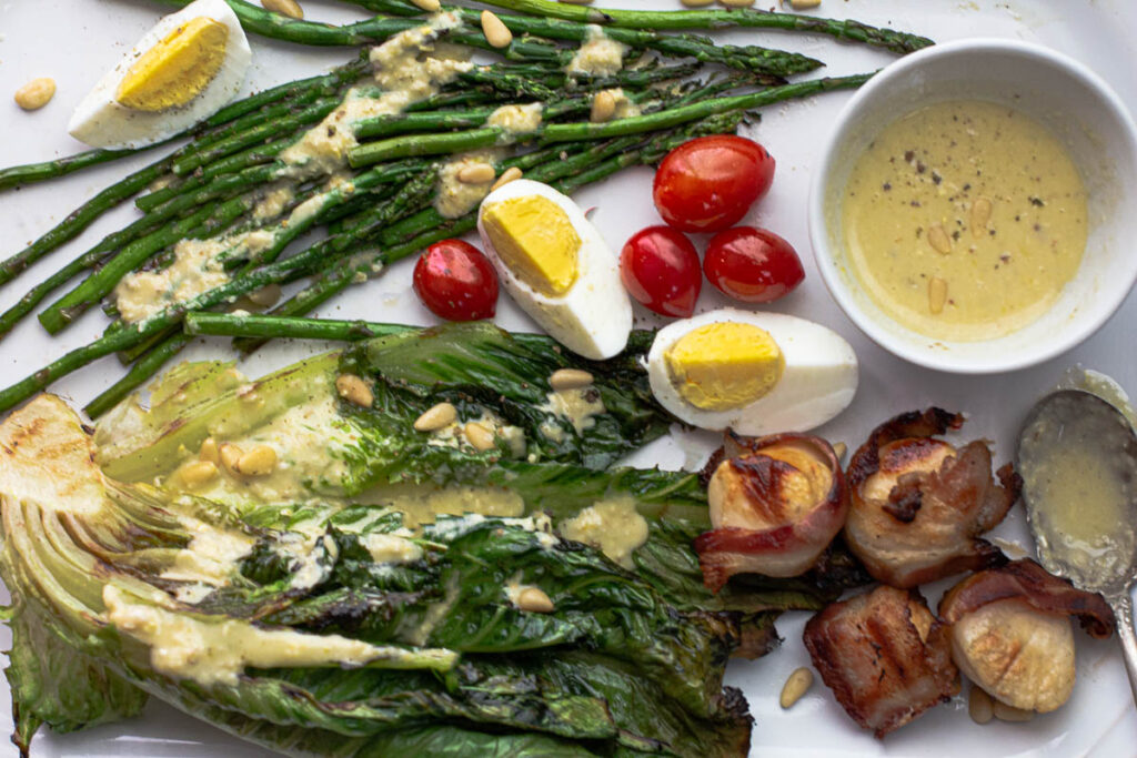 Grilled Romaine Salad Recipe with Pine Nut Dressing