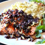 Cedar Plank Salmon with Mushroom Red Wine Reduction Sauce