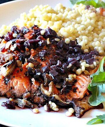 Cedar plank salmon with red wine shiitake mushroom sauce