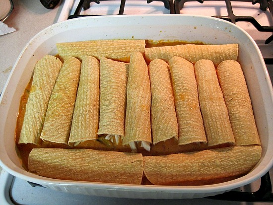 How to roll tortillas for Chicken Enchiladas with Tomato Cream Sauce