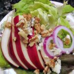 Pear Walnut Maytag Blue cheese Salad with Cranberry Vinaigrette