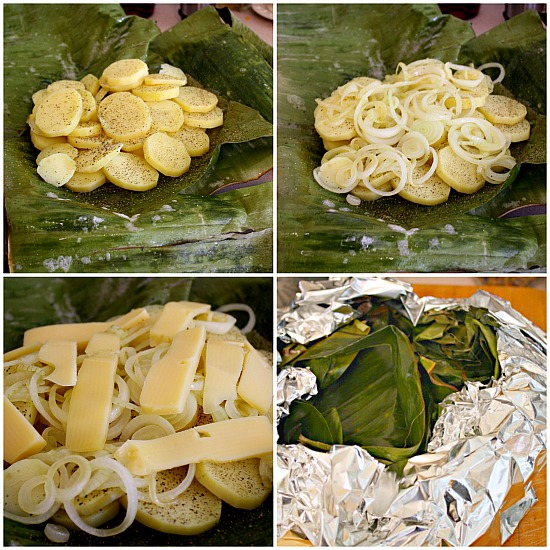 Grilled potato recipe. Wrapped in banana leaves, with onions and ementhaler cheese, this is a great potato recipe.