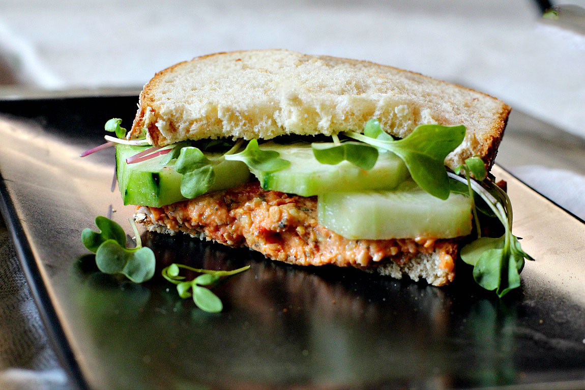 Spicy Sun-dried tomato basil chick pea spread and cucumber sandwich