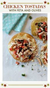 chicken tostadas with olives and feta