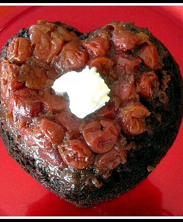 Upside down chocolate cherry heart shaped cake. Valentine Day Chocolate Cake Recipe