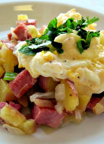 Ham hash with mustard cream sauce. Recipe for left over ham.