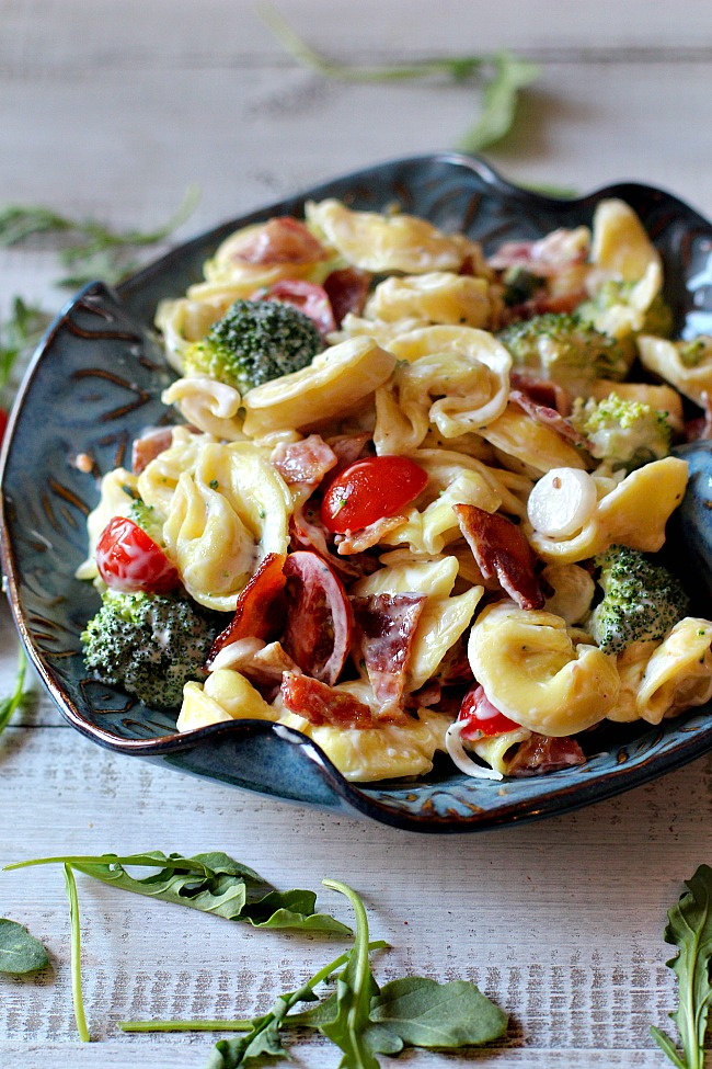 best pasta salad tortellini bacon broccoli tomatoes
