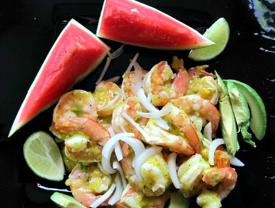 Jamaican Inspired Shrimp Salad with Mango Vinaigrette, watermelon and avocado