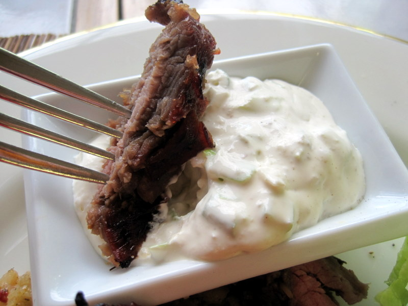 Easy Flank Steak Recipe with Horseradish Cream Sauce.