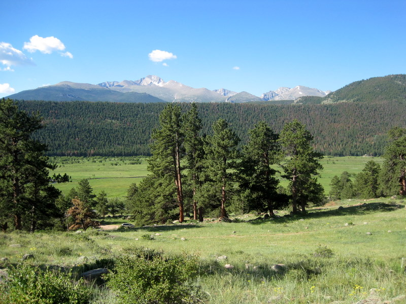View of Long's Peak from Moraine Park Campground. Camping at Rocky Mountain National Park.