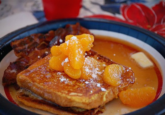 Camping food. Orange French Toast with Grand Marnier Syrup. Delicious french toast recipe