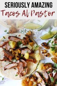 Tacos al pastor made from marinated pork steaks