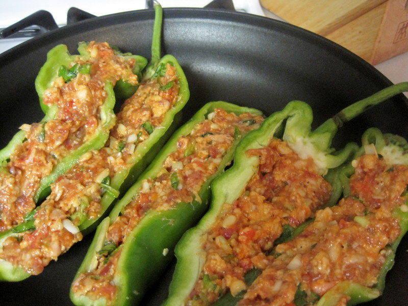 Italian Sweet Frying peppers stuffed with Italian Sausage and Spinach