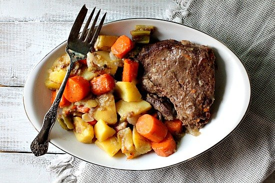 Old Fashioned Sunday Pot Roast Dinner Recipe. With potatoes, carrots, celery and onion, this is the original one pot meal.
