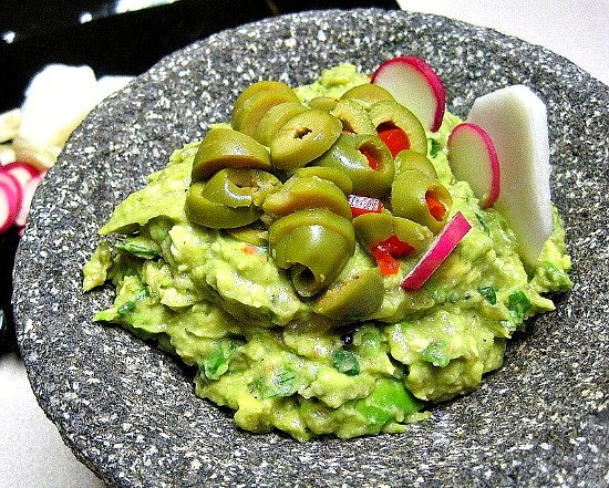 Tangy Guacamole with olives