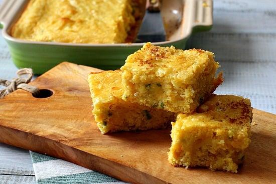 Super Moist Jalapeno Buttermilk Corn bread recipe. Creamed Corn and Muenster cheese is the secret.