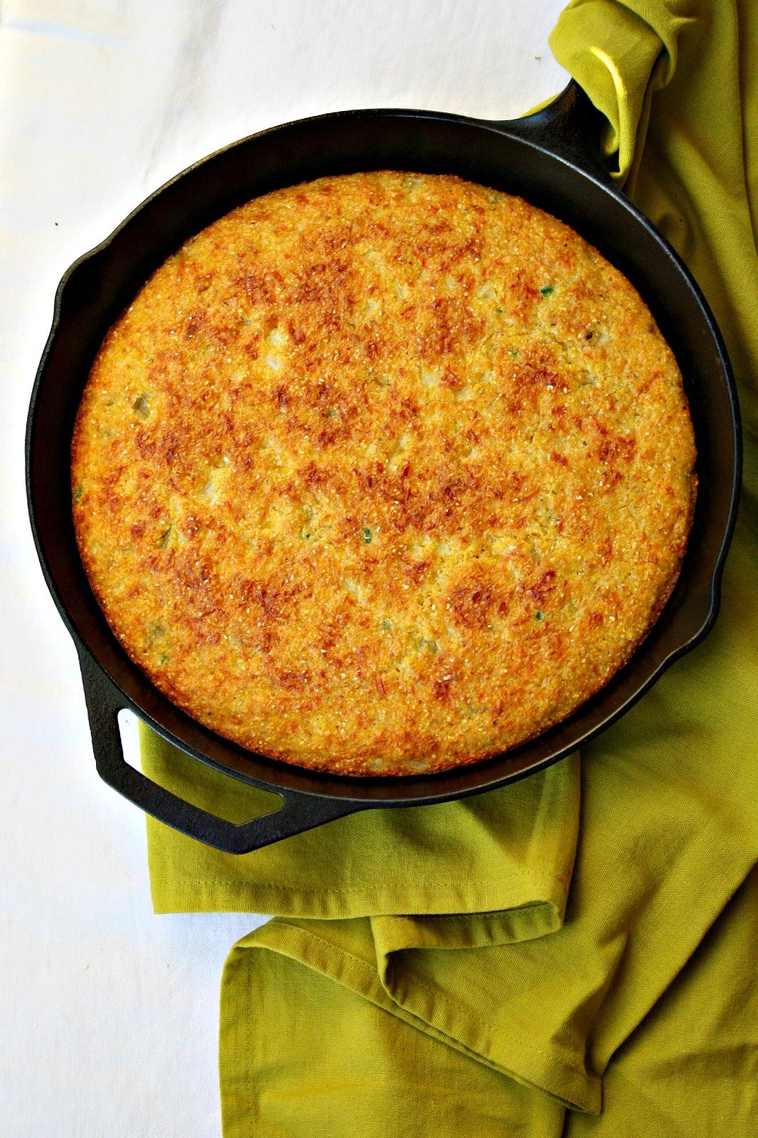 Super moist corn bread baked in a cast iron skillet