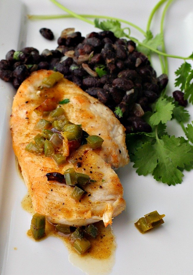 Easy chicken dinner recipe with black beans and orange jalapeno sauce.