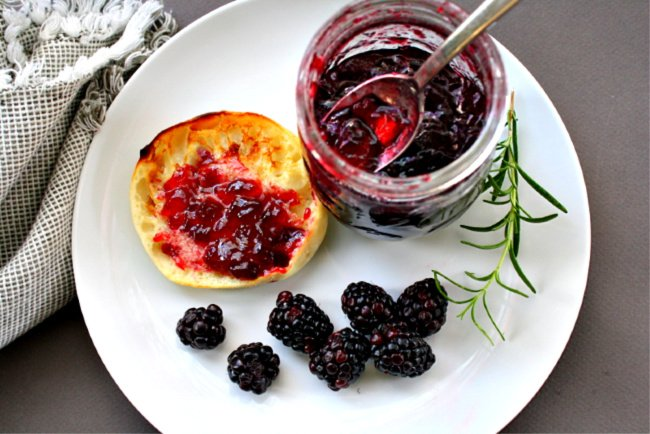 Blackberry Merlot Wine Jelly on an english muffin