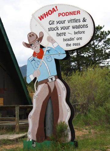 The cowboy sign in Estes Park Colorado