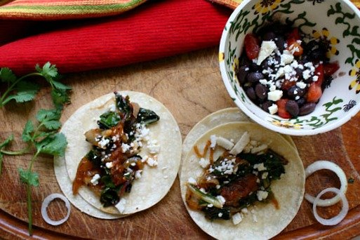 Swiss Chard and Caramelized onion tacos. Easy and healthy Mexican vegetarian taco recipe
