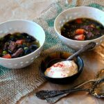 Black Bean and Ham Soup with carrots and peas