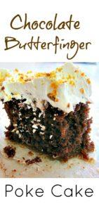 Easy German Chocolate Butterfinger Poke Cake