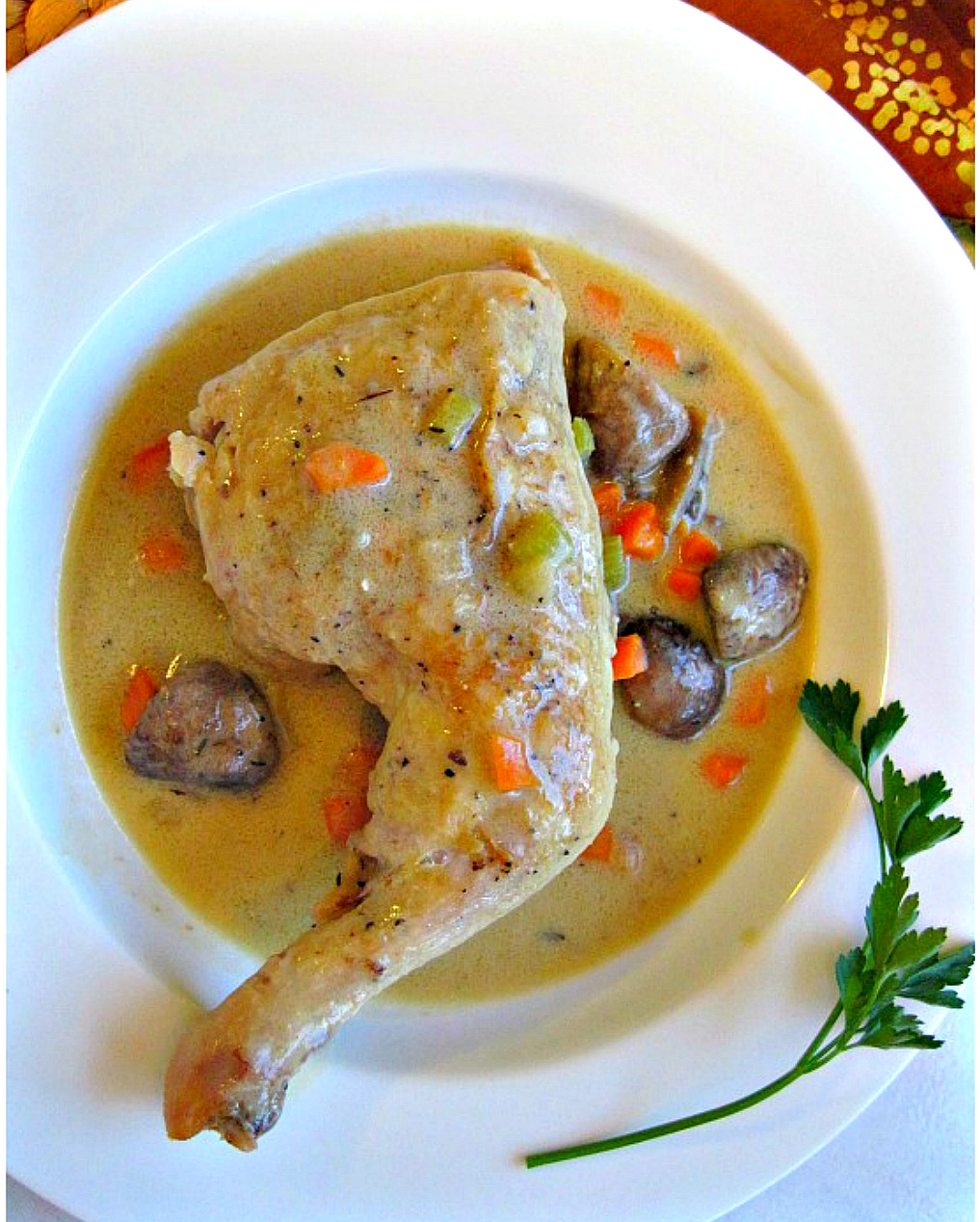 Classic Chicken Fricassee. A French braised chicken dish with a silky gravy.
