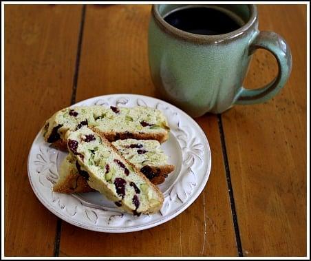 Pistachio and cranberry biscotti