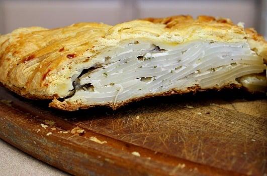 Rosemary potato strudel, sliced