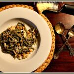 Spinach Linguine with Garlic Rosemary Sauce and Chickpeas
