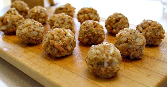 Meatballs using chopped cooked shrimp