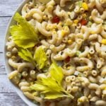 Elbow Macaroni Summer Pasta Salad recipe with celery and hard boiled eggs