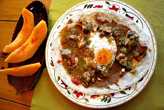 Green Chili and Eggs. A great Western Southwestern Breakfast idea.