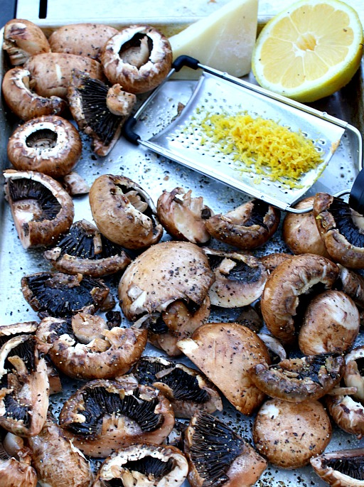 Grilled Mushrooms with Lemon and thyme.
