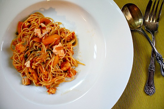 Easy Salmon dinner idea. With Angel Hair Pasta and paprika wine sauce.
