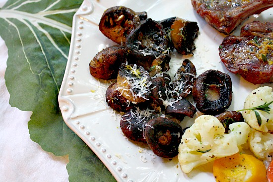 Grilled Mushrooms with Lemon and Thyme. A side dish for grilled lamb chops