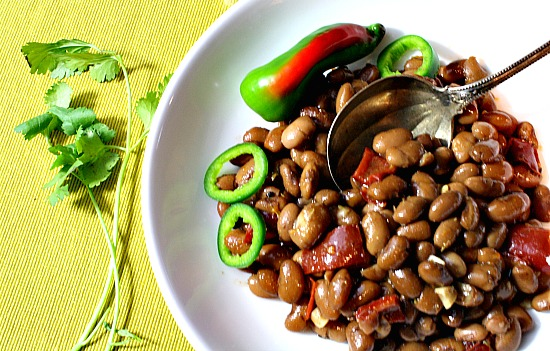 Bolita Beans with slices of Jalapeno