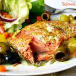 Salmon Poached in White Wine with Olives and Pearl Onions