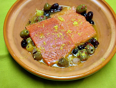 Roasted Salmon with Olives
