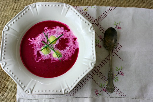 Creamy beat soup with horseradish dumplings.