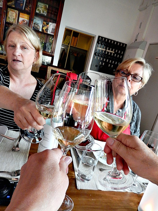 toast with white wine