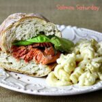 Blackened Salmon Sandwich with Creamy White Cheddar Mac and Cheese