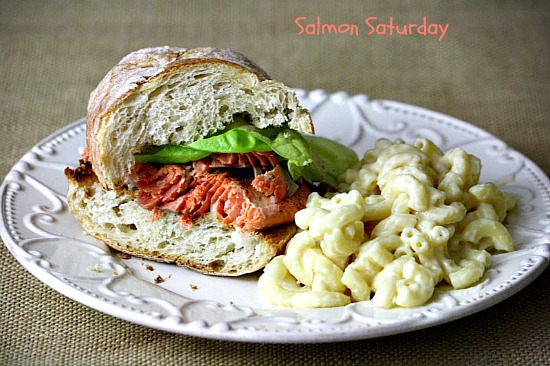Blackened Salmon Sandwich with Creamy White Cheddar Mac and Cheese ...