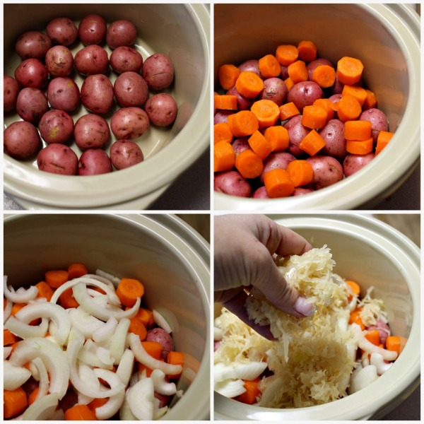 Step by Step how to cook pork ribs in the crockpot with apples potatoes onions carrots and sauerkraut