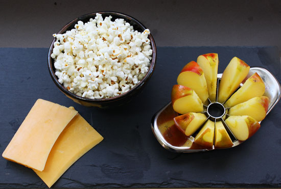 Popcorn and apple