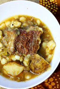 Hatch chile Short rib stew with potatoes and hominy