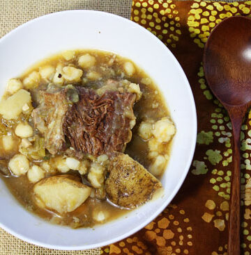 bowl of Hatch Chile Short Rib Stew with Hominy and Potatoes